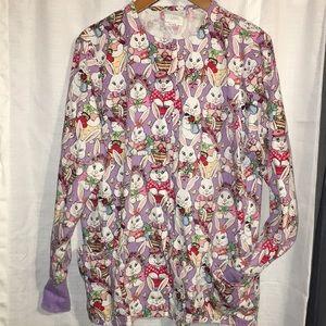 Bunny scrub jacket size medium long sleeves